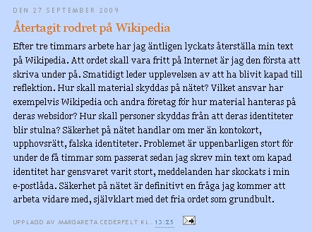 Cederfelts post om Wikipedia